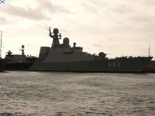 Tàu khu trục Dagestan là một trong 4 tàu tham gia tấn công IS (Ảnh: Warfare.be)