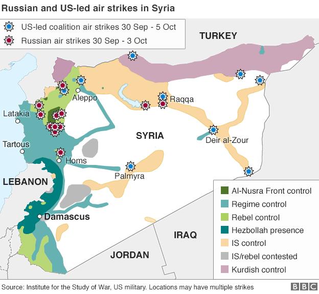 Bản đồ chiến sự tại Syria tính tới ngày 5/10 (Ảnh: BBC)