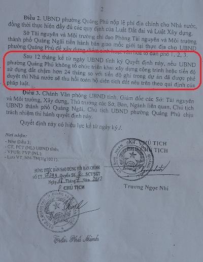 QĐ giao đất số 2883 của UBND tỉnh năm 2007 yêu cầu thu hồi lại đất nếu dự án chậm trễ ít nhất 24 tháng.
