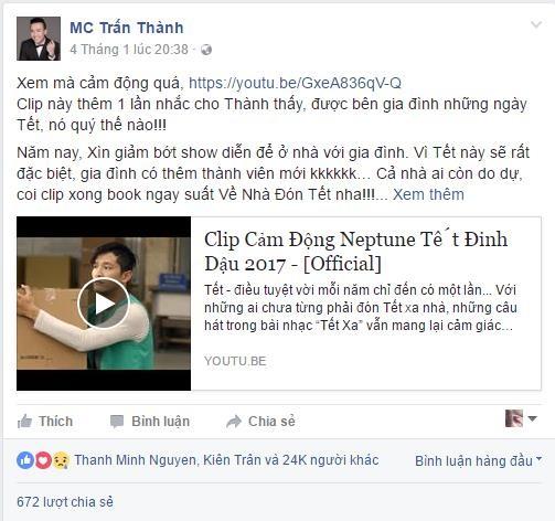 Chia sẻ của MC Trấn Thành được nhiều người đồng cảm và chia sẻ
