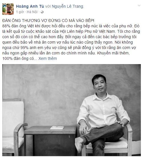 """Anh Chánh Văn to gan phản đối chuyện """"bắt"""" đàn ông vào bếp - 1"""