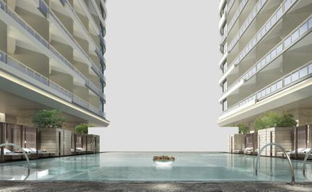 Khu vực bể bơi ngoài trời tầng 4 phải đảm bảo đủ các yêu cầu vệ sinh, chất lượng nước theo đúng tiêu chuẩn của tập đoàn Thuỵ Sĩ công bố