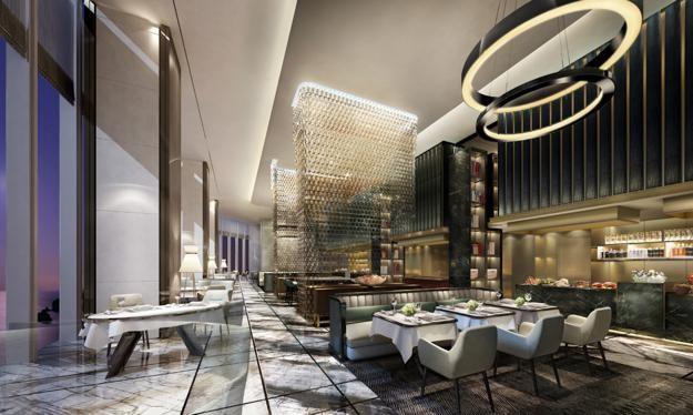 Trần của nhà hàng phải đạt tiêu chuẩn thấp nhất 3,5m và được thiết kế tinh xảo, chuyên biệt