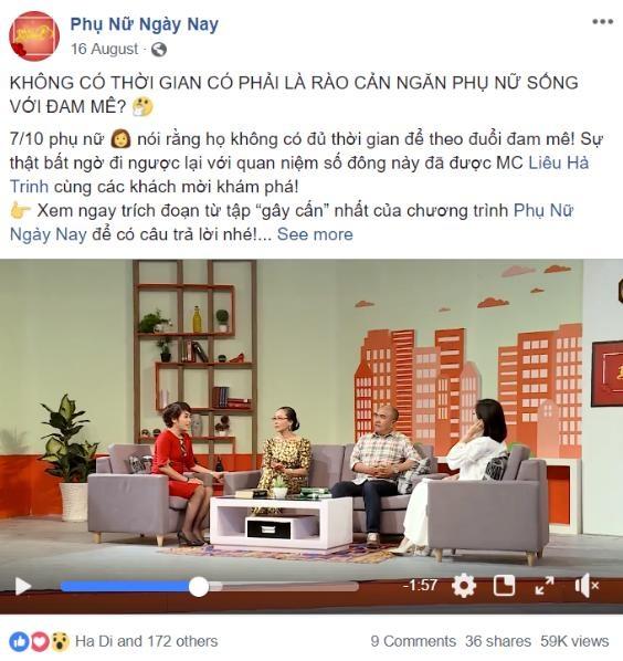 Đoạn clip trích trong chương trình Phụ nữ ngày nay nhanh chóng thu hút 59,000 lượt xem và gần 200 lượt tương tác từ cộng đồng mạng.