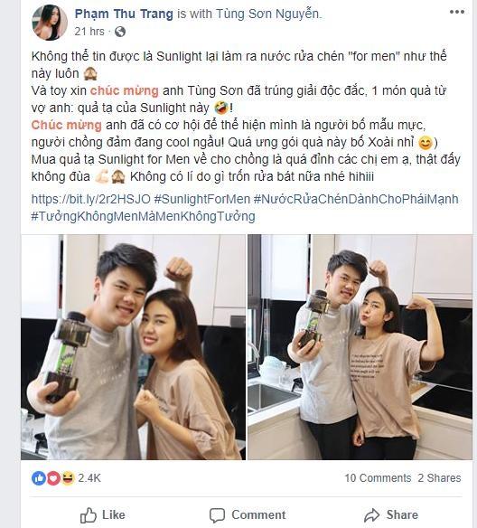 Tùng Sơn – Trang Lou thích thú cầm trên tay phiên bản nước rửa chén cực độc của nhãn hàng Sunlight
