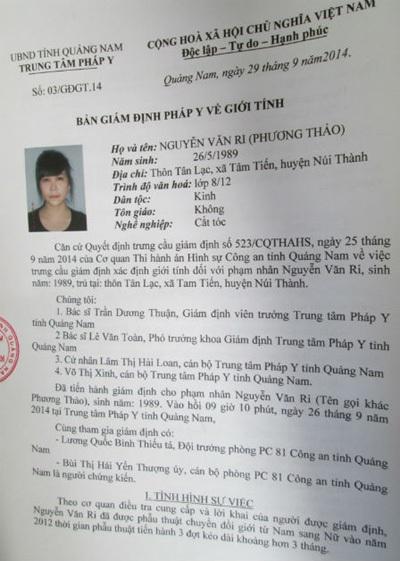 Kết quả giám định đối tượng Ri (Hình do PC81 Công an tỉnh Quảng Nam cung cấp)