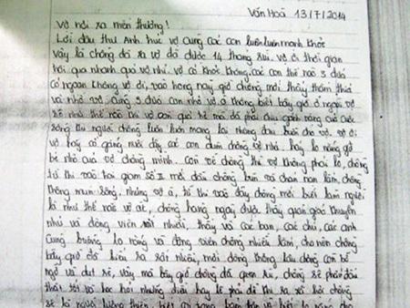 Lá thư với nét chữ thẳng hàng của một phạm nhân