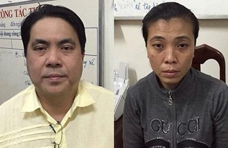Hải (Ngu Wang Hei) và Hoa tại cơ quan điều tra. Ảnh: CTV