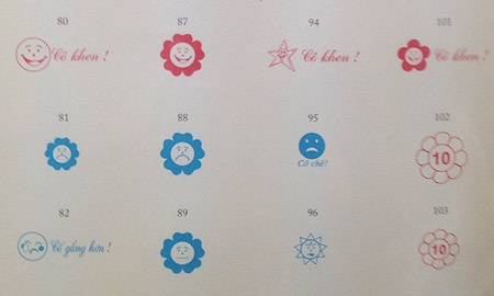 Các mẫu đóng dấu với màu sắc chủ đạo là xanh và đỏ. Theo đó màu đỏ được hiểu là con làm tốt hơn.