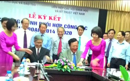 Lễ ký kết phối hợp giữa Bộ Giáo dục và Đào tạo và Liên hiệp các Hội Khoa học và Kỹ thuật Việt Nam