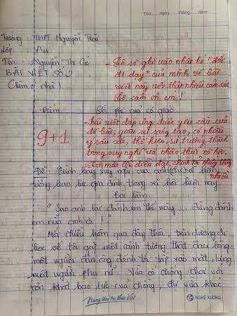 Bài văn của em Nguyễn Thị Cúc về hiện tượng bạo lực gia đình