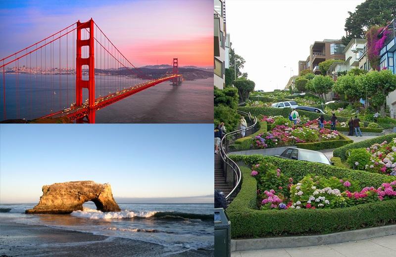 Cầu cổng vàng (Golden Gate), bãi biển Santa Cruz, phố hoa Lombard.