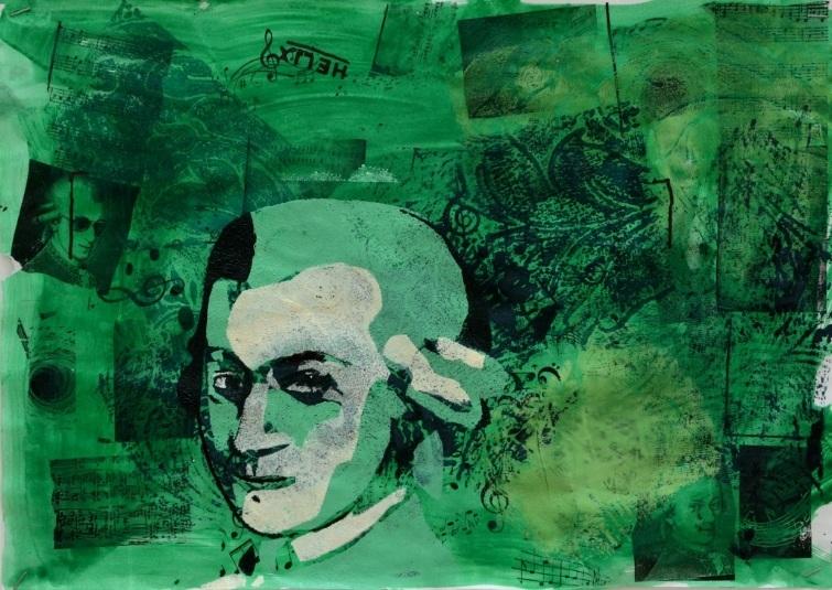 Bức họa nhạc sĩ Mozart của một học sinh lớp 8.