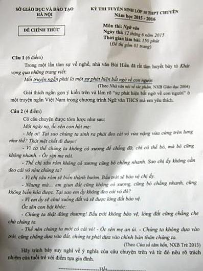 Đề Văn lớp 10 chuyên Hà Nội
