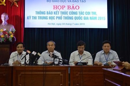 Bộ GD-ĐT tổ chức họp báo thông báo kết thúc công tác coi thi, kỳ thi THPT quốc gia năm 2015