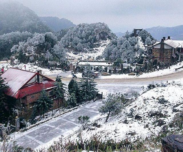 Tuyết phủ trắng khắp lối ở Mẫu Sơn. Ảnh: maialy