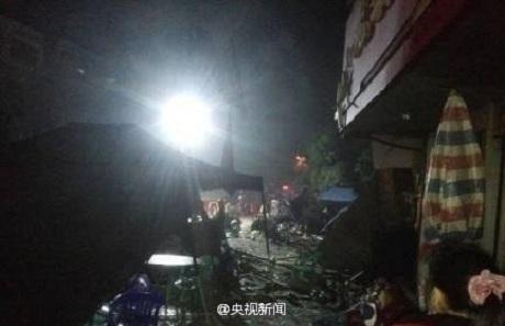 Hiện trường vụ nổ khí gas tại Quảng Tây làm 6 người thiệt mạng. (Ảnh: