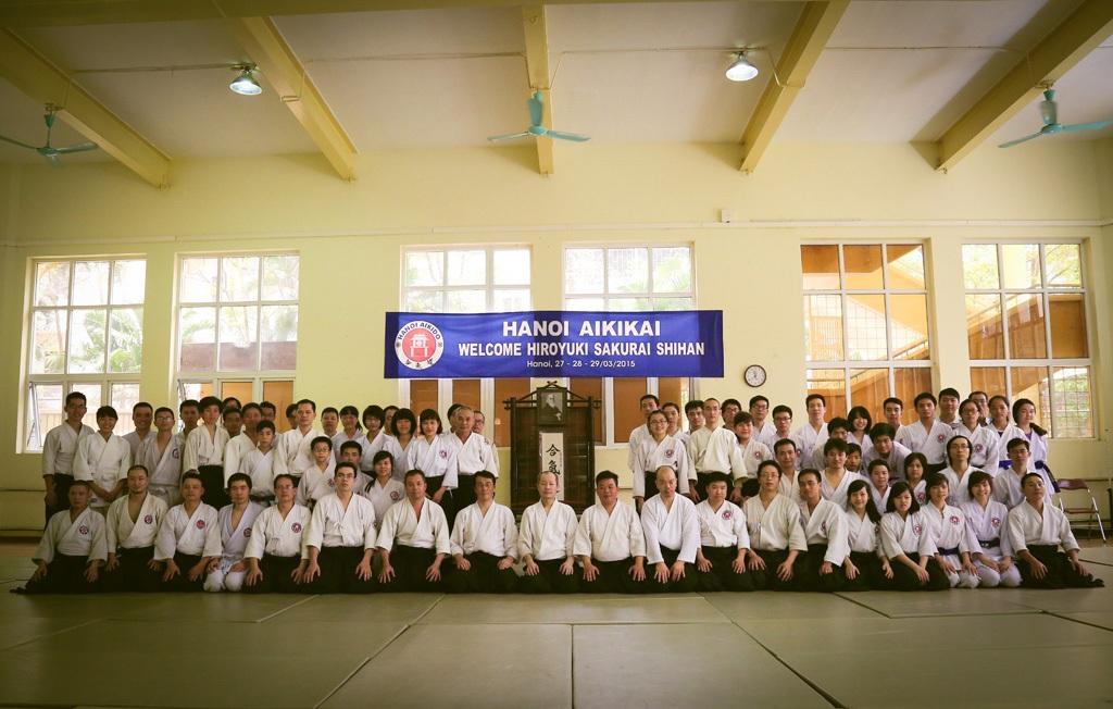 Đây là lần thứ 5 võ sư Hiroyuki Sakurai đến Việt Nam huấn luyện Hà Nội Aikikai