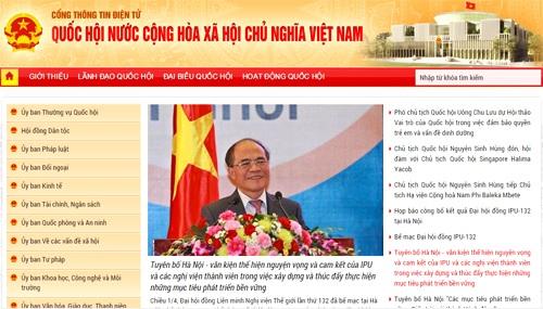 Giao diện trang chủ Cổng thông tin điện tử Quốc hội (