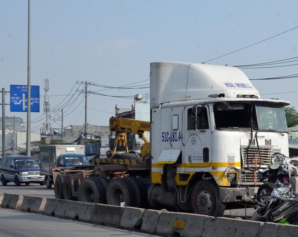 Chiếc xe container được xác định là không mất thắng khi gây tai nạn.