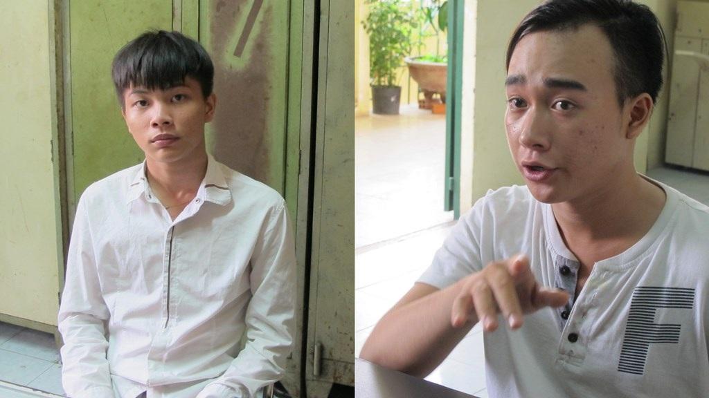 Vũ Minh Thành và Nguyễn Quốc Tấn tại cơ quan công an