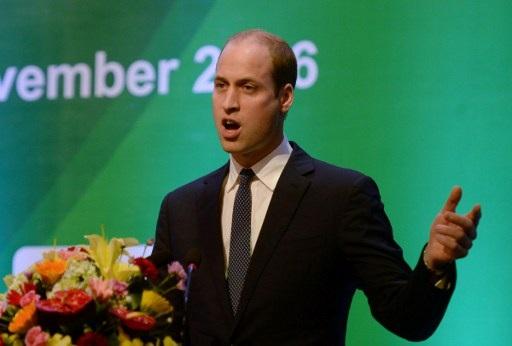 Công tước xứ Cambridge phát biểu tại hội nghị. Hoàng tử William luôn tích cực tham gia các hoạt động nhằm chống lại nạn buôn bán trái phép động vật hoang dã. Hiện Công Tước xứ Cambridge là Chủ tịch của United for Wildlife, dự án liên hiệp giữa 7 tổ chức bảo vệ động vật hoang dã lớn nhất thế giới dưới sự chủ trì của Quỹ từ thiện Hoàng gia Anh. (Ảnh: AFP)