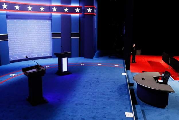 Sân khấu của cuộc tranh luận (Ảnh: Getty)