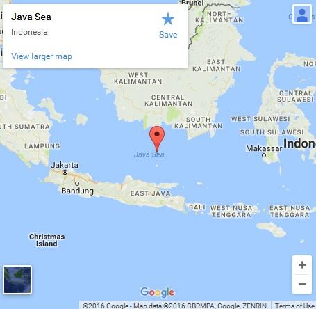 Biển Java, nơi các xác tàu được tìm thấy (Ảnh: Google)