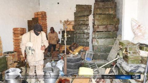 Phiến quân IS đã thu giữ được hàng chục nghìn viên đạn các loại cùng thuốc nổ, vũ khí, xe tăng còn mới, sử dụng được ngay Ảnh: HIMS