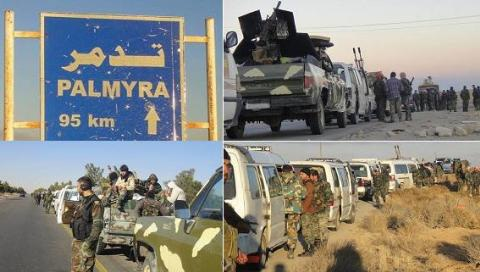 SAA đang thể hiện quyết tâm tập trung quân tái chiếm Palmyra. (Ảnh: Lực lượng tăng viện của Syria trên đường đến Palmyra)