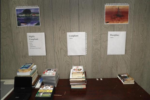Khu vực thông báo này tại thư viện có các chỉ dẫn rất chi tiết như tù nhân được mượn bao nhiêu quyển sách, DVD hay trò chơi điện tử, tùy thuộc vào mức độ tuân thủ kỷ luật của họ. Các tài liệu tại thư viện được xem như một phần thưởng dành cho những người có hành vi tốt.