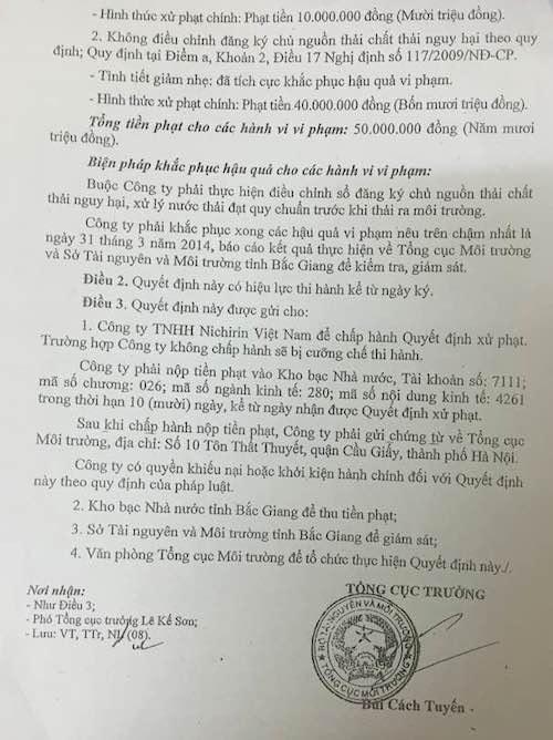 Tổng cục môi trường xử phạt hành chính với Công ty TNHH Nichirin Việt Nam.