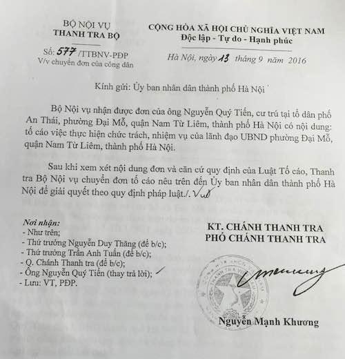 Thanh tra Bộ Nội vụ đề nghị giải quyết tố cáo sai phạm tại phường Đại Mỗ.