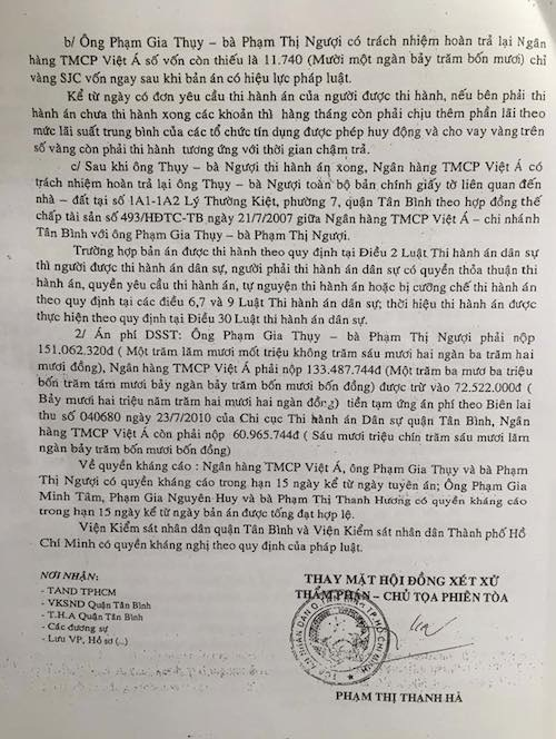 Từ đó, TAND quận Tân Bình đã tuyên một bản án đúng tinh thần giám đốc thẩm của TAND Tối cao.