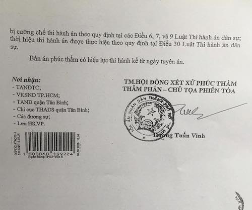 Tuy nhiên, sau đó, TAND TP Hồ Chí Minh đã ra bản án số 495/2015/DS-PT đi ngược lại tinh thần cốt lõi của VKSND Tối cao, TAND Tối cao trong quyết định kháng nghị, giám đốc thẩm khiến bị đơn đã lập tức có đơn xin tiếp tục kháng nghị.