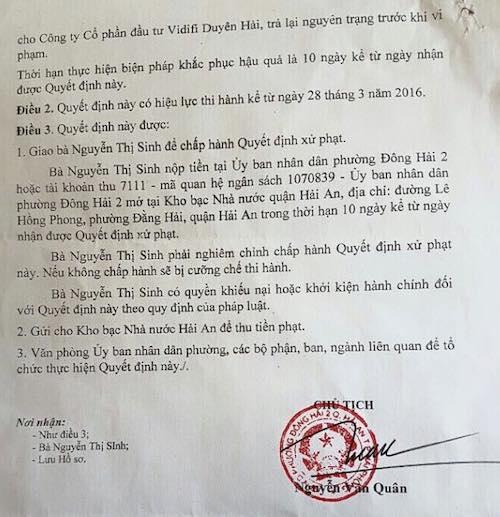 Quyết định xử phạt hành chính với bà Sinh do Chủ tịch UBND phường Đông Hải 2 Nguyễn Văn Quân ký ban hành.