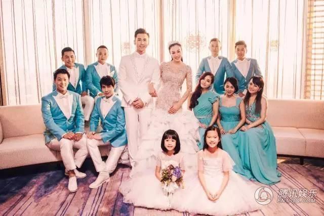 Phù dâu và phù rể cùng hai cô con gái riêng của Chung Lệ Đề xuất hiện trong bộ ảnh cưới đặc biệt của Chung Lệ Đề - Trương Luân Thạc.