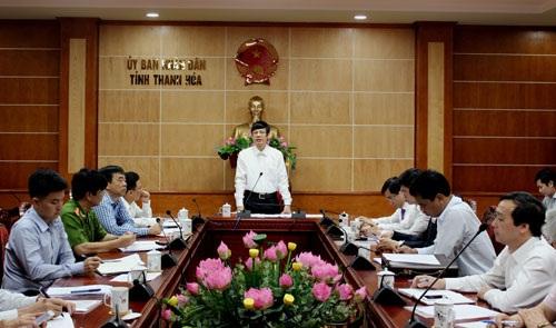 Ông Nguyễn Đình Xứng, Chủ tịch UBND tỉnh Thanh Hóa trong một cuộc họp
