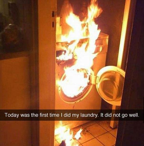 Hôm nay là lần đầu tiên tôi tự giặt đồ và chắc đây cũng là lần cuối cùng.
