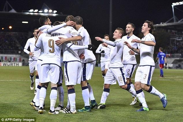 Niềm vui chiến thắng của các cầu thủ Italia