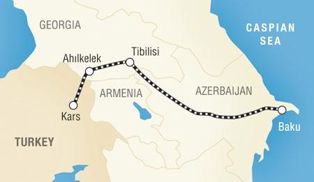 Tuyến đường sắt Baku-Tbilisi-Kars, dự kiến hoàn thành năm 2017, sẽ tạo thuận lợi cho việc vận chuyển hàng hóa từ châu Á đến châu Âu (Ảnh: Daily Sabah)