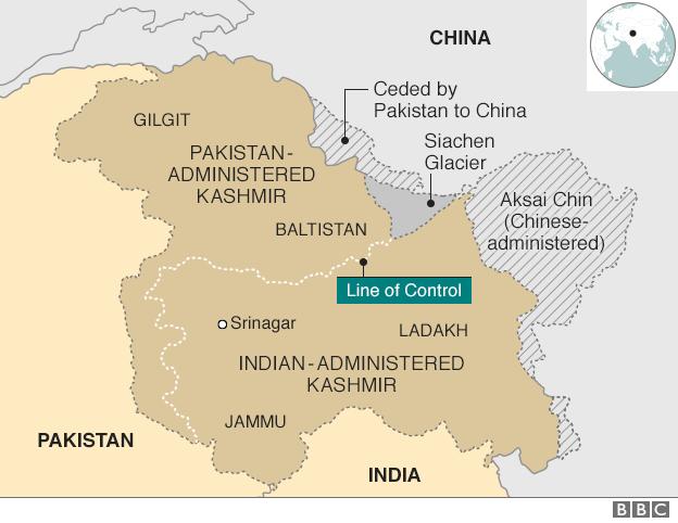 Bản đồ cho thấy khu vực tranh chấp Kashmir (Ảnh: BBC)