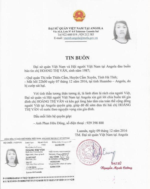 Giấy báo tử của chị Văn tại Angola