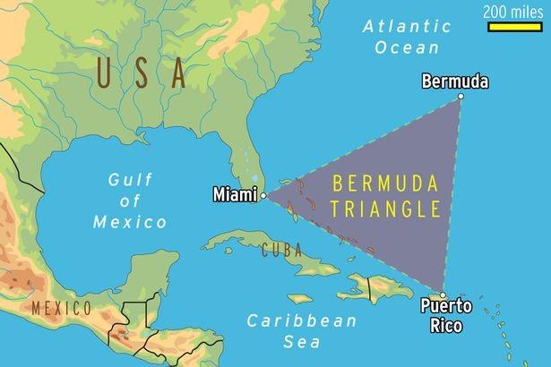 """Đồ họa khu vực """"Tam giác quỷ"""" Bermuda (Ảnh: AOL)"""