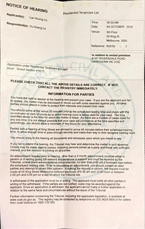 Thông báo điều trần Toà án dân sự của bang Victoria gửi đến các bên có liên quan (Ảnh NVCC)