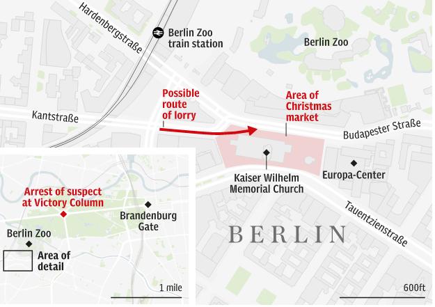 Chiếc xe lao vào khu chợ giáng sinh ở Berlin. (Đồ họa: Telegraph)