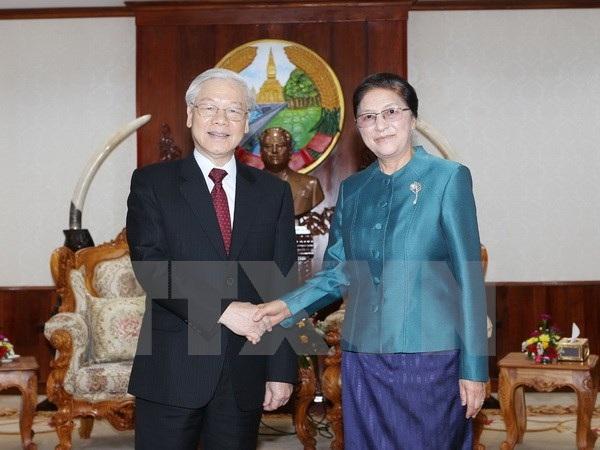 Tổng Bí thư Nguyễn Phú Trọng hội kiến Chủ tịch Quốc hội Lào Pany Yathotou.