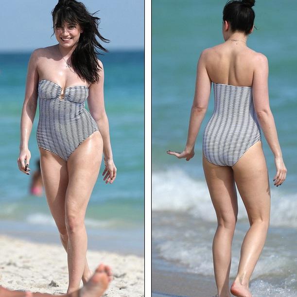 Cánh săn ảnh đã bắt gặp người đẹp 27 tuổi khi cô đi dạo trên bãi biển trong bộ áo tắm liền mảnh sexy