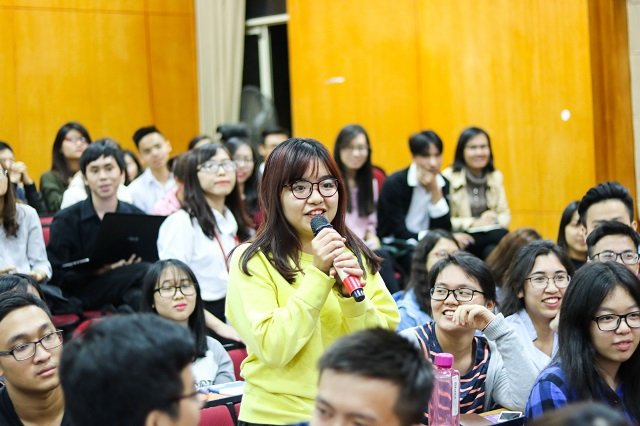 Các bạn trẻ hào hứng đặt câu hỏi về ngành F&B nói riêng và Marketing nói chung.
