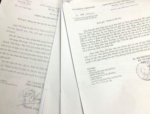 Cơ quan chức năng Trung ương và TP. Hà Nội đã ban hành hàng chục văn bản chỉ đạo nhưng Quận ủy Nam Từ Liêm vẫn chưa giải quyết dứt điểm đơn khiếu nại tố cáo của công dân phường Đại Mỗ.